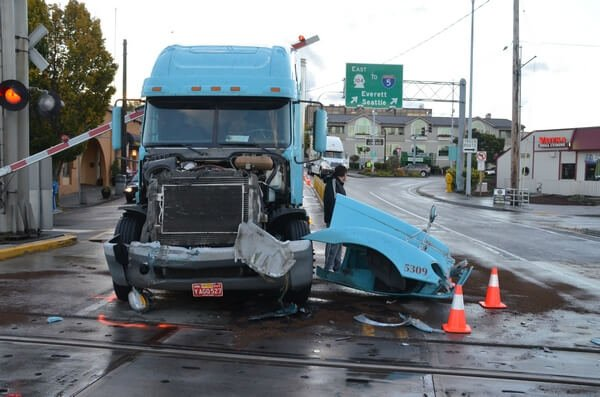 Truck damaged severely due to accident in Bellingham